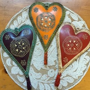 Hand Painted Metal Heart Wall Hooks